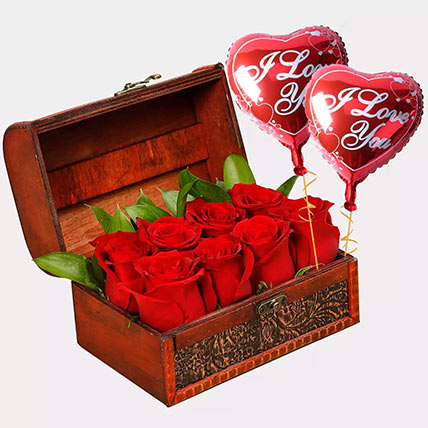 Treasured Roses with I Love You Balloons: Helium Balloons Dubai