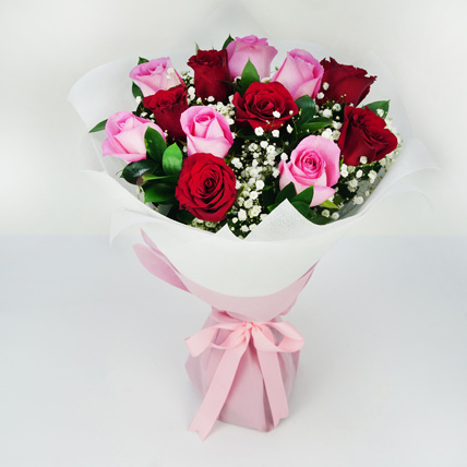 Pink and Red Roses Grand Bouquet: Valentine's Day Flowers