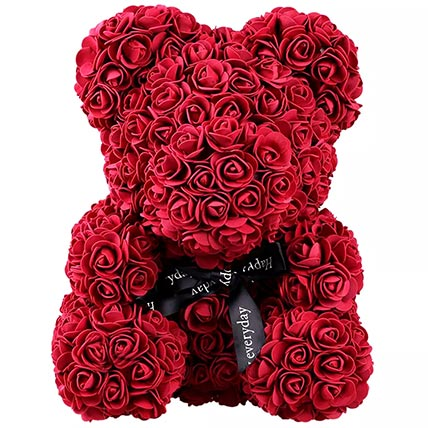 Maroon Artificial Roses Teddy Bear: Valentine's Day Flowers