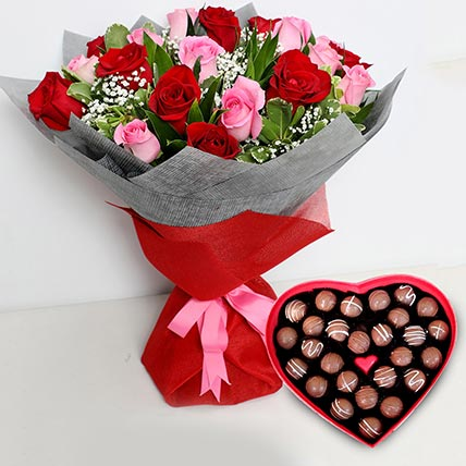 Pink and Red Roses Bouquet with Heartshaped Chocolates: Valentine Flowers for Him