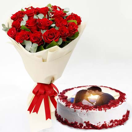 Red Roses & Cake Combo: Anniversary Flowers and Cakes