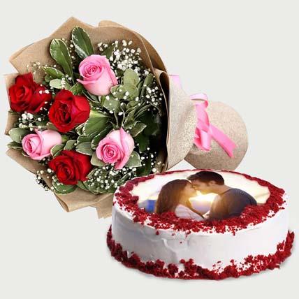 Beautiful Flowers Bouquet & Cake: Photo Cakes