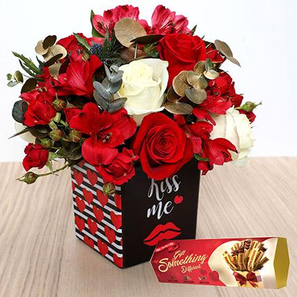 Romantic Flowers with Toblerone Chocolates:  Cadbury Chocolates