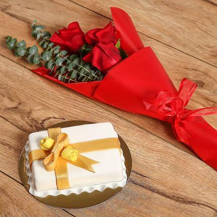 Roses Bouquet & Designer Mono Cake: Anniversary Flowers & Cakes