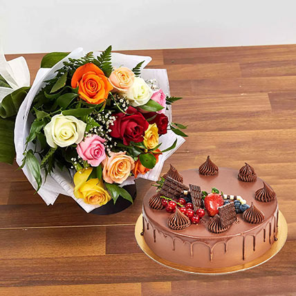 Dozen Multi Roses with Fudge Cake: Anniversary Flowers to Sharjah
