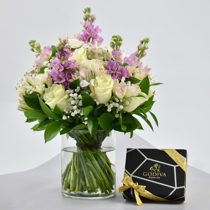 Exotic Blossoms and Godiva Chocolate Bar: Flowers & Chocolates for Mothers Day