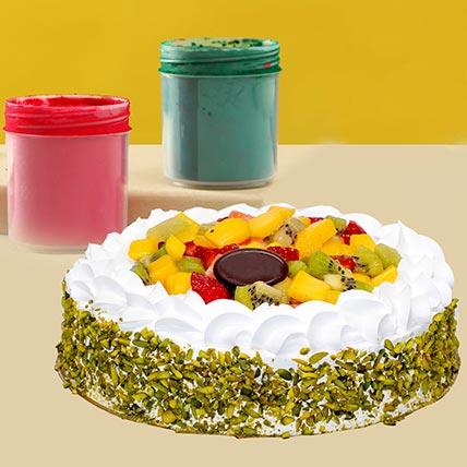 Fruit Cake with Holi Colors: Holi Gifts
