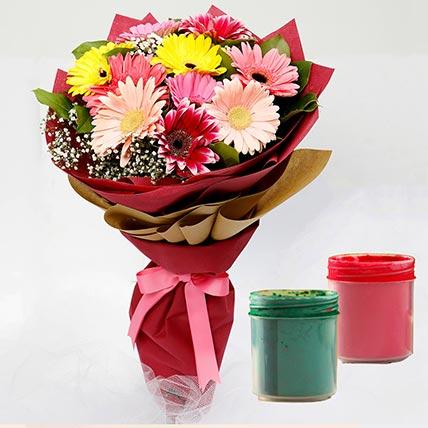 10 Gerberas with Holi Colors: Holi Gifts