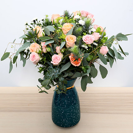 Pastel Coloured  Roses Vase: New Arrival Gifts in Dubai