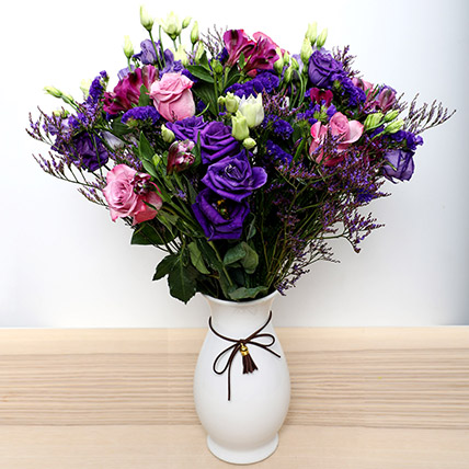 Roses N Alstroemeria in Ceramic Vase: Fathers Day Flowers to Sharjah