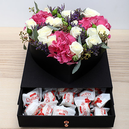 Roses N Chocolates Combo: Flower in a Box