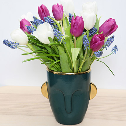Tulips and Muscari in a Vase: Happy Women's Day Flowers