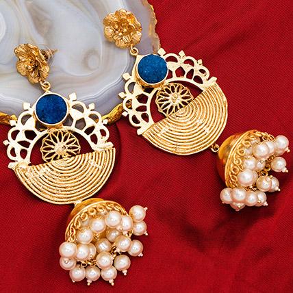 Gold Plated Artificial Stones Jhumkas: Ladies Earrings