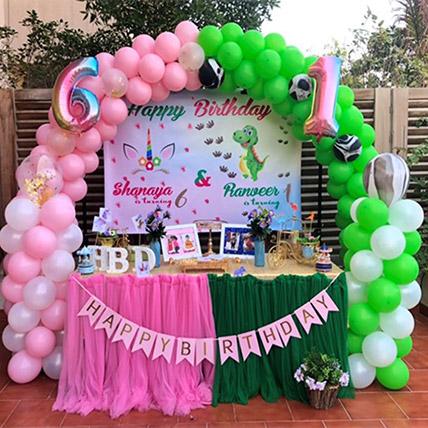Unicorn And Dinosaur Theme Combo Birthday Decor: Balloon Decoration Dubai