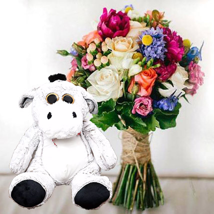 Ravishing Flowers and Brown Teddy Combo: Flowers and Teddy Bears