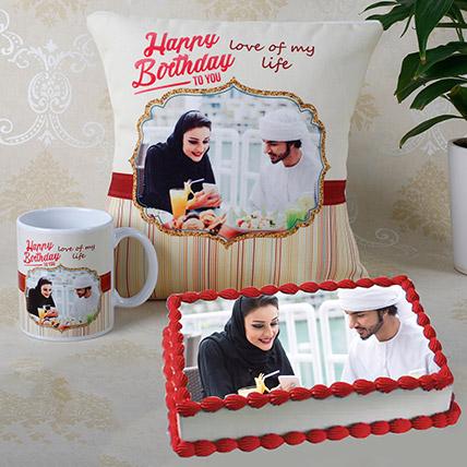 Personalised Cushion Mug And Cake Combo: Birthday Photo Cakes