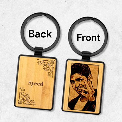 Wooden Keychain Personalised With Photo: