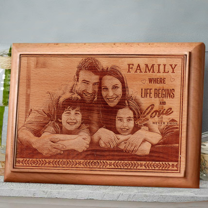 Engraved Wooden Photo Frame: Wedding Anniversary Gift For Wife