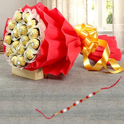 Pearl Rakhi and 16 Pcs Ferrero Bouquet:  Rakhi Delivery