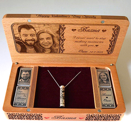 Personalised Engraved Necklace And Box:  Wedding Anniversary Gifts