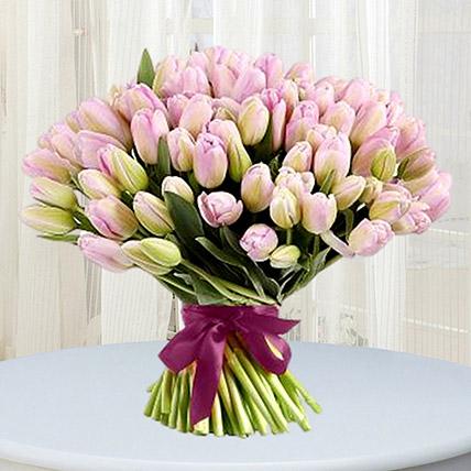 Grand Pink Tulips Bouquet: Premium Flowers