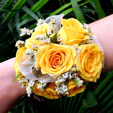 Vivid Yellow Roses Corsage: Corsages