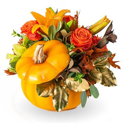 Charming Florals Arrangement in Pumpkin: