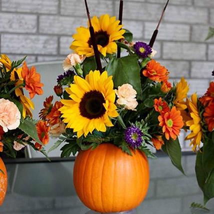 Cheerful Sunflower Table Arrangement: Halloween Flowers