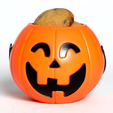 Halloween Pumpkin Basket With Cookies: