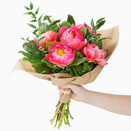 Delightful Coral Peonies Bunch: Flowers Offers