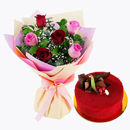 Pink and Red Roses with Red Velvet Cake: Birthday Flower Bouquets