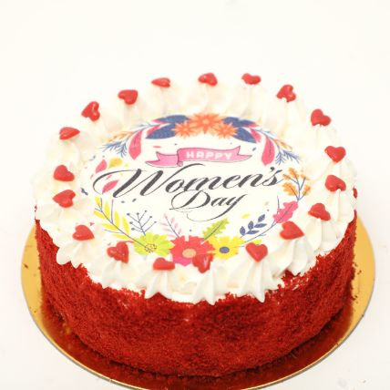 Womens Day Red Velvet Cake 500gm: Gifts for Womens Day