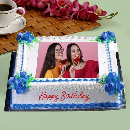 Birthday Floral Photo Cake: Customized Cakes in Dubai