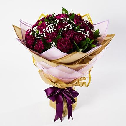 Alluring Purple Carnations Bouquet: Carnation Flower