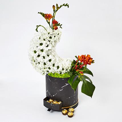 Ramadan Flowers Box N Ferrero Rocher: Eid Mubarak Flowers