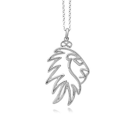 Silver Plated Brass Noble Lion Pendant Necklace: Accessories