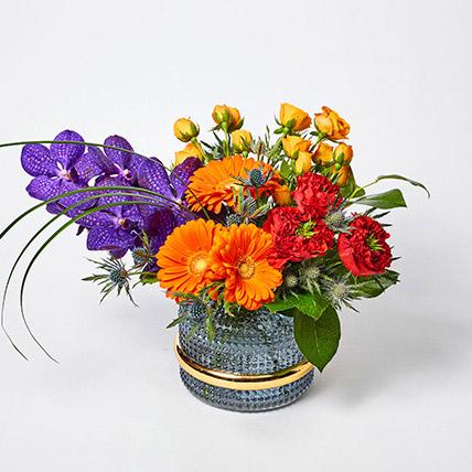 Blissful Mixed Flowers Vase Arrangement: Premium Gifts
