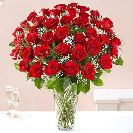 Bunch of 50 Scarlet Red Roses:  Anniversary Gifts for Her