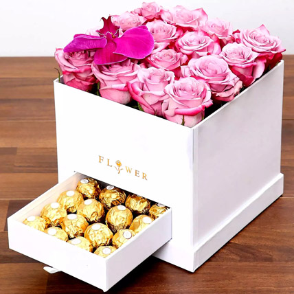 Hues Of Purple and Chocolates: Flower Delivery