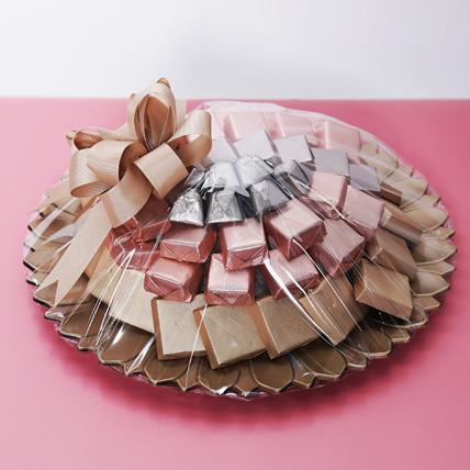 Pink and Golden Chocolate Tray: Birthday Chocolates