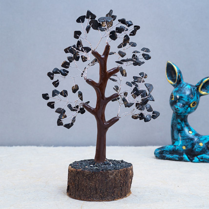 Black Agate Stone Handcrafted Wish Tree: Unique Gifts
