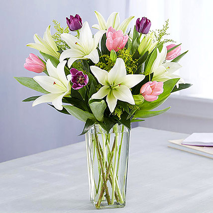 Medley Of Lilies and Tulips: New Arrival Flowers