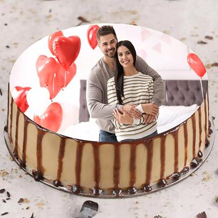 Anniversary Butterscotch Photo Cake 500Gm: Anniversary Cake with Photo & Name