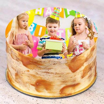 Birthday Special Caramel Photo Cake: Birthday Photo Cakes