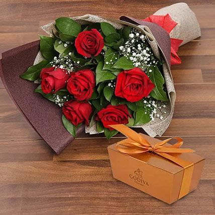 6 Red Roses and Godiva Chocolate Combo: Anniversary Flowers and Chocolates
