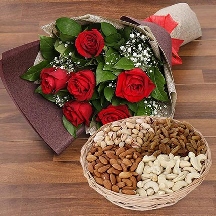 6 Red Roses Bouquet With Dry Fruits: Birthday Flowers and Dry Fruits