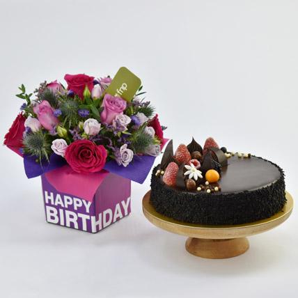 1 Kg Chocolate Cake With Birthday Flower Arrangement: