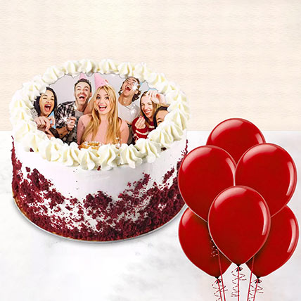 1 kg Red Velvet Photo Cake With Balloons: Gifts for Friend