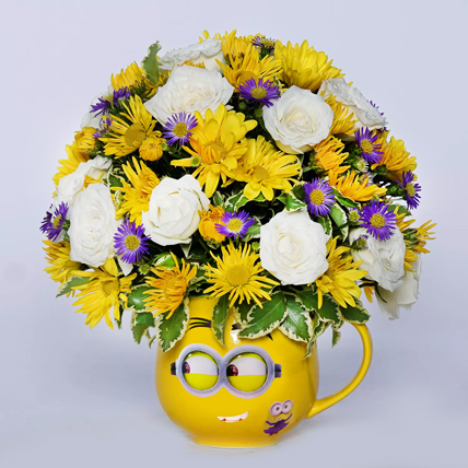 Blissful Mixed Flowers In Smiley Glass Vase: Father's Day Flowers