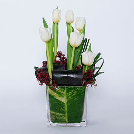 White Tulips N Red Skimmia In Glass Vase: Get Well Soon Flowers